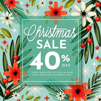 Watercolor christmas sale banner with branches and flowers