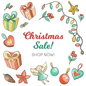 Watercolor christmas sale concept
