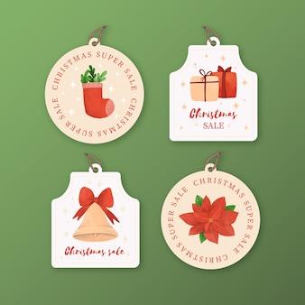Акварельные рождественские продажи тегов коллекции