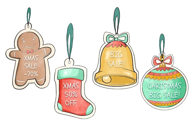 Watercolor christmas sale tag collection