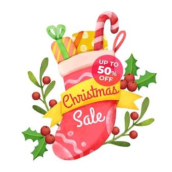 Акварельная рождественская распродажа