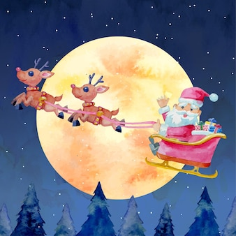 Watercolor christmas santa claus flying on a sleigh with two reindeers and full moon background.