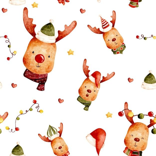 Акварель рождество бесшовные модели оленей