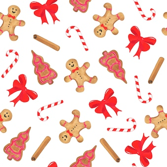 Watercolor christmas seamless pattern with bow, gingerbread, sweet cane and cinnamon