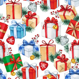 Watercolor christmas seamless pattern with gift boxes