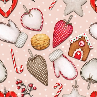 Watercolor christmas seamless pattern with hearts, mittens and treats