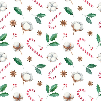 Watercolor christmas seamless pattern with red berries, cotton flowers, candy cane hook, anise, cotton flowers, twigs, red berries
