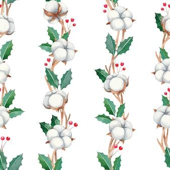 赤い果実、白い背景の上の綿の花、水彩の新年と水彩のクリスマスのシームレスなパターン