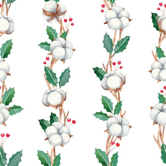 Watercolor christmas seamless pattern with red berries, cotton flowers on a white background, watercolor new year