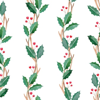 Watercolor christmas seamless pattern with red berries