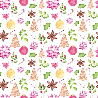 水彩画の伝統的な季節の要素と水彩画のクリスマスのシームレスなパターン。