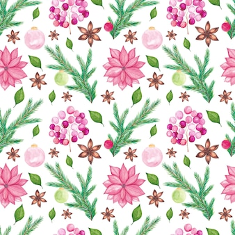 Watercolor christmas seamless pattern with watercolor traditional seasonal elements.