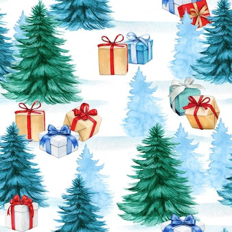 Watercolor christmas seamless pattern with winter forest and gift boxes