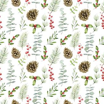 水彩のクリスマスのシームレスなパターン
