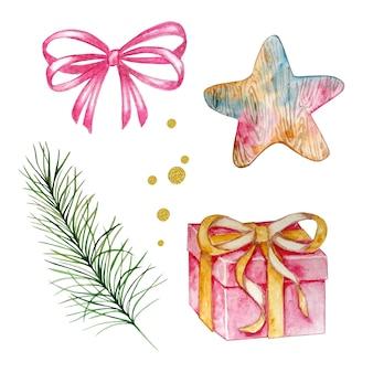 ギフトと星、松の枝と弓と金の円、白い背景に手描きの水彩画のクリスマスセット。お祝いイラスト