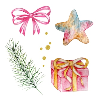 Watercolor christmas set with gifts and star, pine branch and bow and gold circles, hand painted on white background. festive illustration