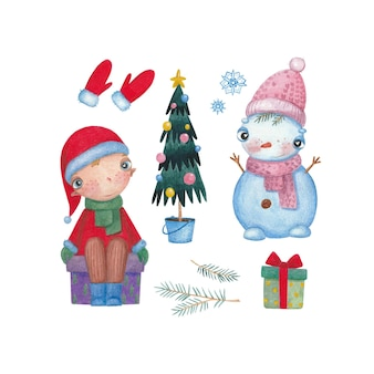 Watercolor christmas set with snowman elf and gift