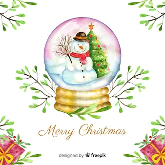 Watercolor christmas snow globe background