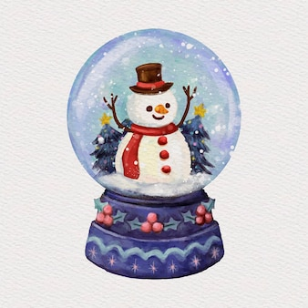 Watercolor christmas snowball globe illustration