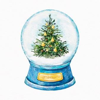 水彩クリスマス雪玉地球儀イラスト