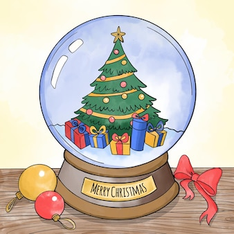 Watercolor christmas snowball globe with decorated tree
