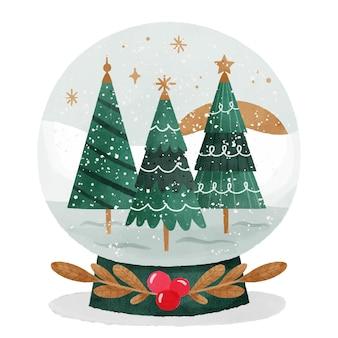 Акварель рождественский снежный шар