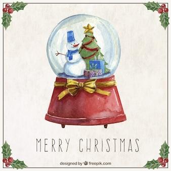 水彩クリスマス雪だるま