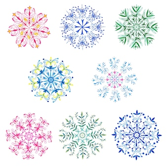 Watercolor christmas snowflakes collection