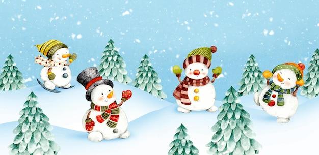 雪の背景に水彩のクリスマス雪だるま