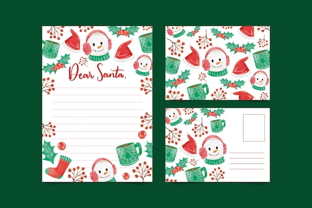 Watercolor christmas snowman stationery template