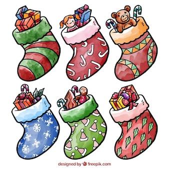 수채화 크리스마스 양말 팩
