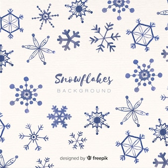 Watercolor christmas sowflakes background