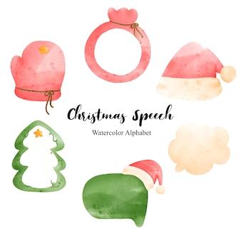 水彩のクリスマスの吹き出し、ベクトルイラスト。
