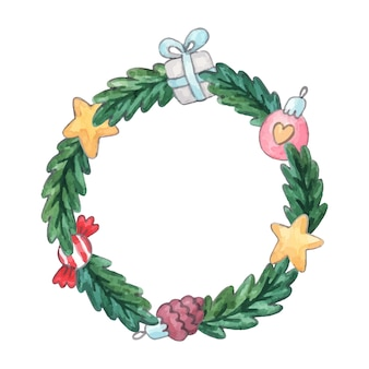 Watercolor christmas spruce wreath with decorations