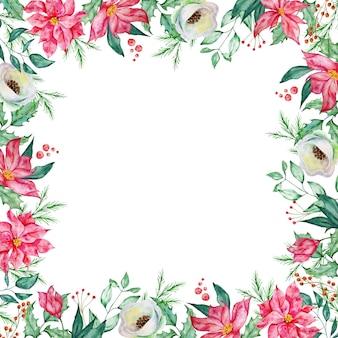 冬のモミと松の枝、ベリーと冬の赤と白の花と水彩のクリスマスの正方形のフレーム。