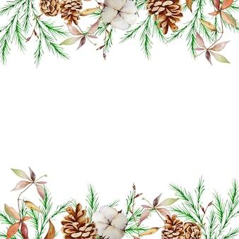 冬のモミと松の枝、松ぼっくりと綿の水彩画のクリスマスの正方形のフレーム。