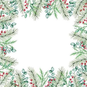冬のモミと松の枝と水彩のクリスマスの正方形のフレーム