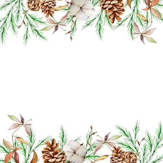 Watercolor christmas square frame with winter fir and pine branches, pine cones and cotton.