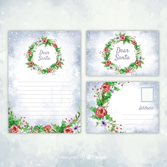 Watercolor christmas stationery template with drawing
