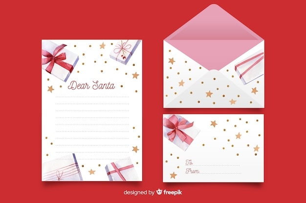 Watercolor christmas stationery template with gifts