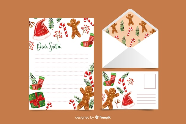 Watercolor christmas stationery template with gingerbread