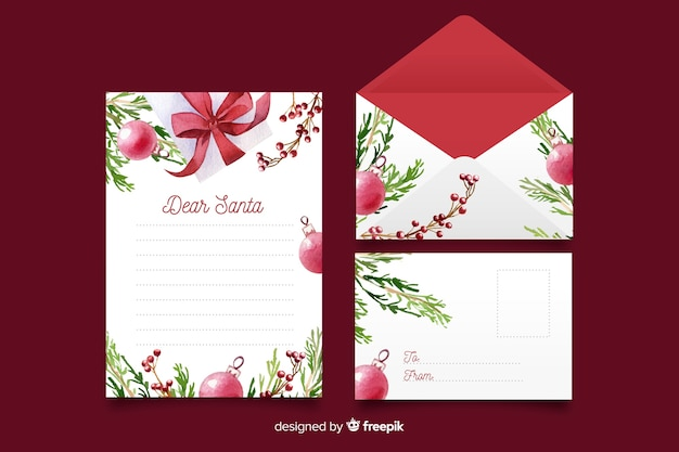 Watercolor christmas stationery template with globes