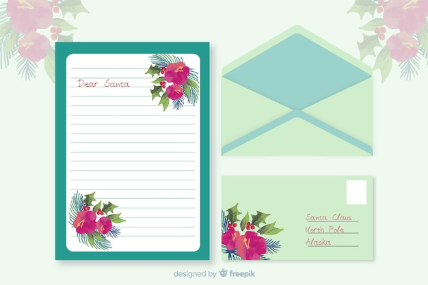 Watercolor christmas stationery template with green letter
