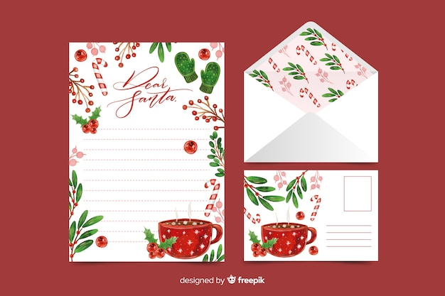 Watercolor christmas stationery template with hot beverage