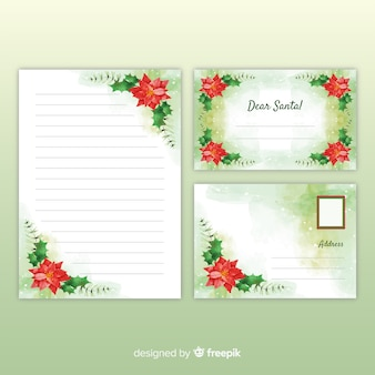 Watercolor christmas stationery template with letter for santa