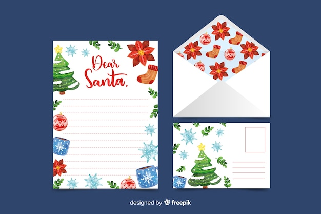 Watercolor christmas stationery template with ornaments