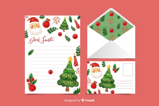 Watercolor christmas stationery template with santa