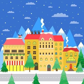 Акварельный рождественский шаблон канцелярских товаров