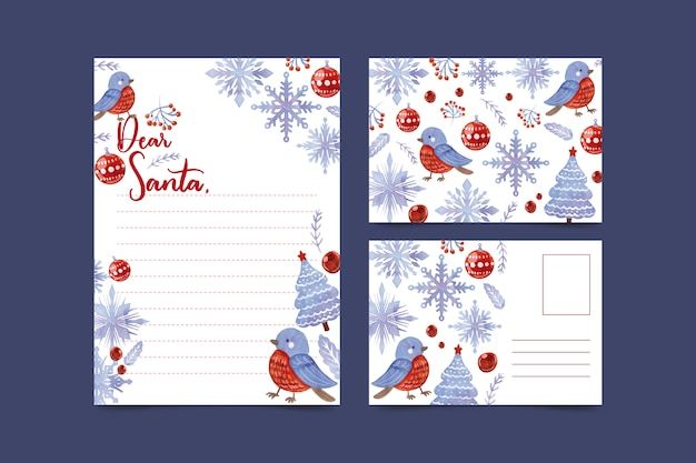 Watercolor christmas stationery template