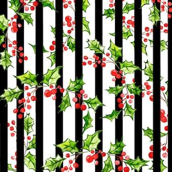 Акварель рождественская полоса цветочный фон